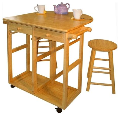 kitchen island cart with stools mobile breakfast cart w two stools drop lea