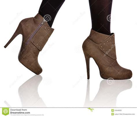 high heel tim boots brown high heel boots closeup stock image image of black