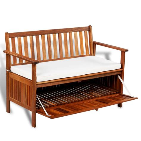 outdoor patio cushion storage bench garden storage bench wooden patio 2 seater sofa seat