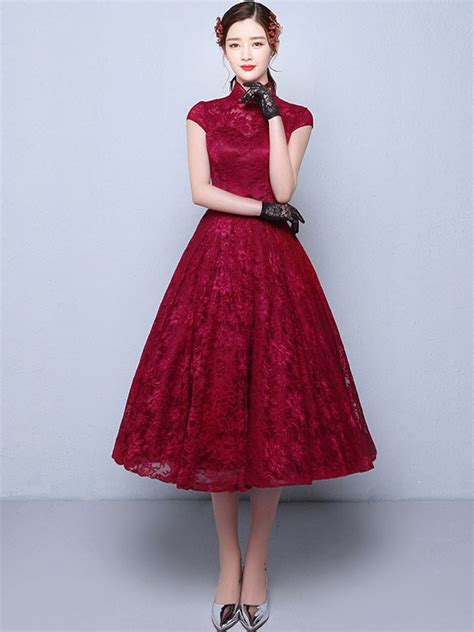 Lace Cheongsam Dress tea length a line qipao cheongsam wedding dress in lace