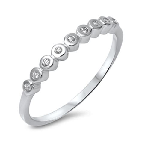 wedding band stackable clear cz promise ring new 925