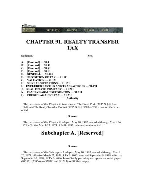 revenue code chapter 91 realty transfer tax free