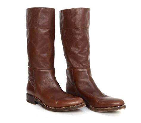 ysl boots yves laurent ysl brown leather boots sz 40 5 at 1stdibs