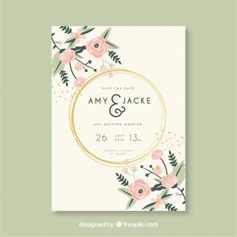 Wedding Card Invitation Images by Wedding Invitation Card With Flowers Vector Free