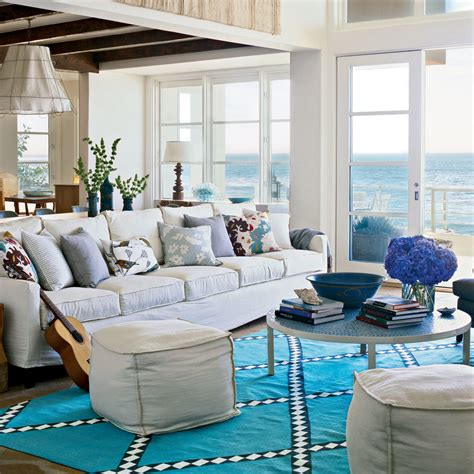 seaside home decor coastal living room decor colorful cozy spaces