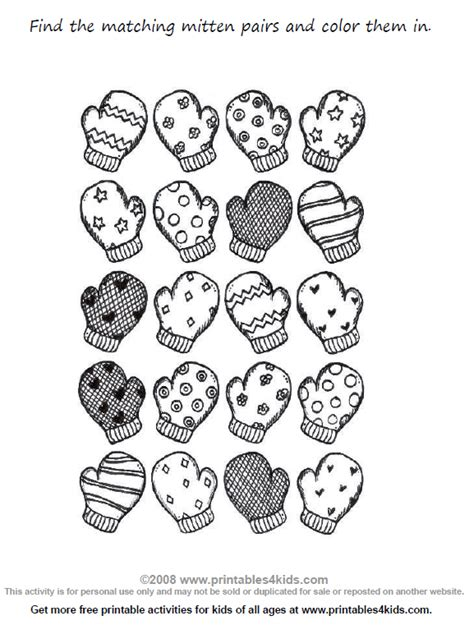 Preschool Math Worksheet Match The Mittens Printables The Match Free Printable Coloring Pages