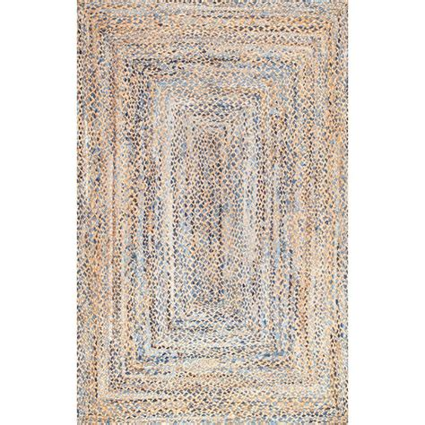 Area Rug 5 X 8 Nuloom Eliz Jute Blue 5 Ft X 8 Ft Area Rug Mgdr01a 508 The Home Depot