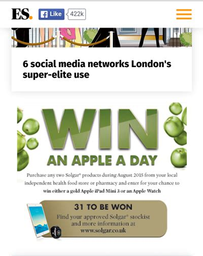 Apple A Day Giveaway - click tap media promotes solgar apple a day giveaway with mobile ads pressat