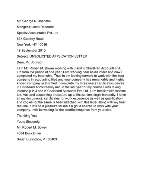 unsolicited application letter sle unsolicited application letter sle free