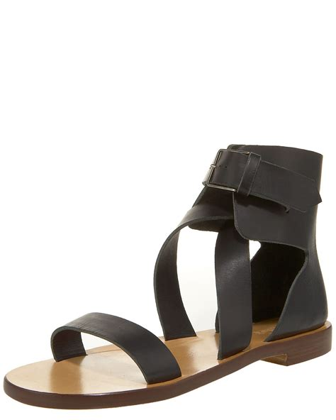 ankle wrap sandal chlo 233 ankle wrap flat sandal in black lyst