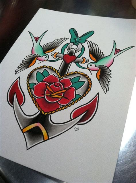 rose and sparrow tattoo traditional flash anchor with sparrows 8 5 quot x 11