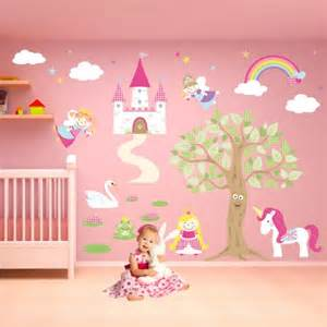 luxury fairy princess nursery wall stickers tall tree wall sticker by vinyl impression in the uk this
