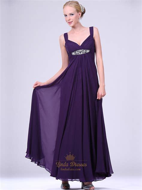 beaded waistband purple v neck empire waist chiffon prom dress with beaded