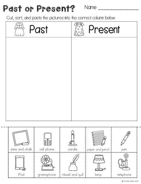 kindergarten activities social studies comparing long ago to today freebie perfect for