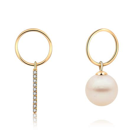 Asymmetric Drop Earrings freshwater pearl asymmetric drop earrings in yellow gold