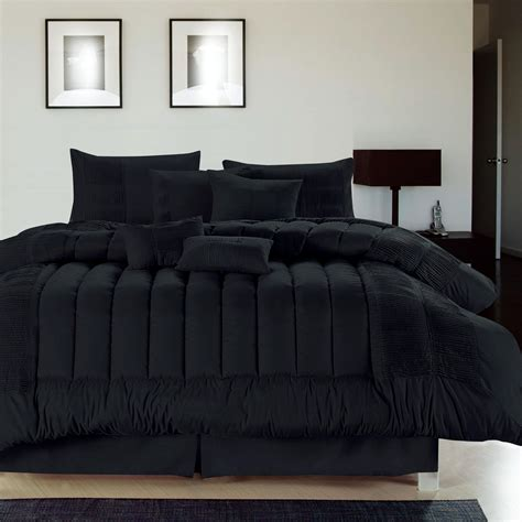 Bed Set Black Seville Black 8 Comforter Bed In A Bag Set New Ebay