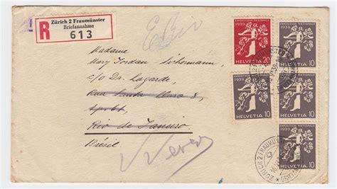 Brief Schweiz Brasilien schweiz 1939 5 werte exposition nat auf einschreiben