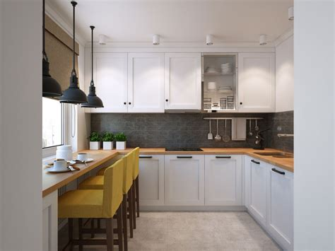 small u shaped kitchen going scandinavian in style space savvy apartment in moscow