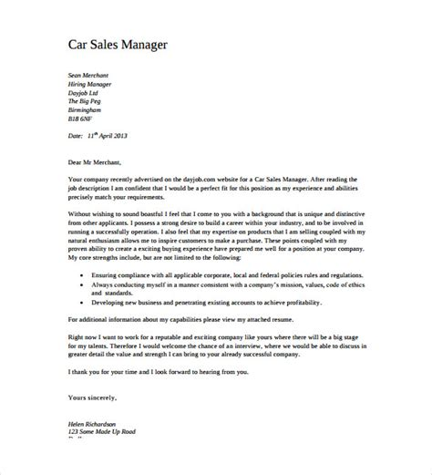 cover letter for area sales manager position