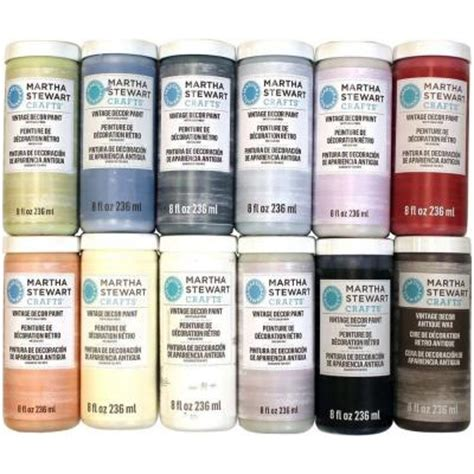 martha stewart crafts vintage decor 8 oz 12 color matte chalk finish paint set promo867 the