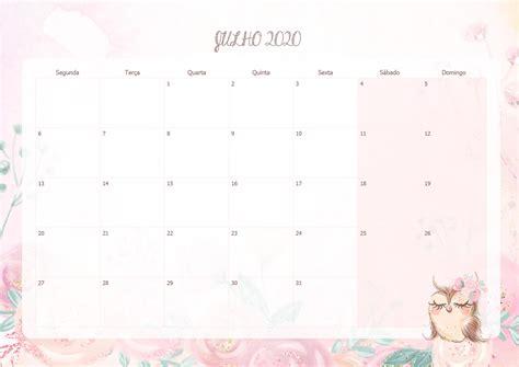 calendario mensal corujinha julho  fazendo  nossa festa
