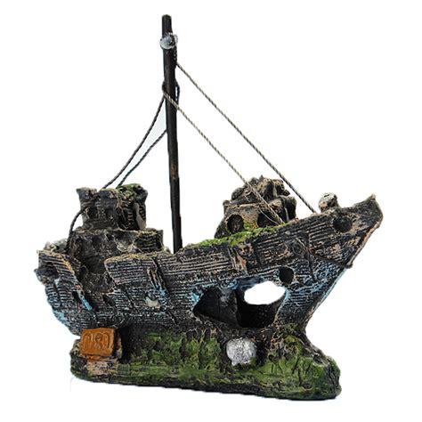 boat resin resin fishing boat aquarium ornament decoration for fish