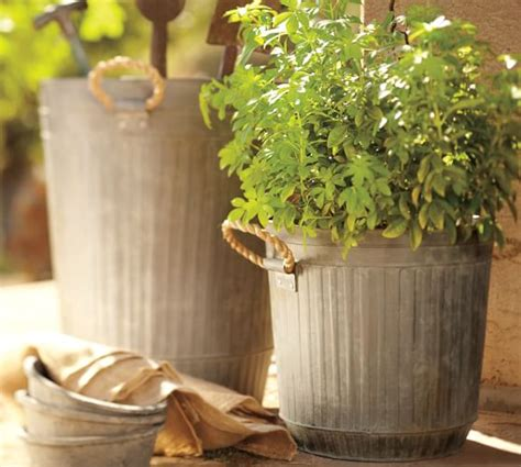 Ribbed Galvanized Metal Bucket With Rope Handles Pottery Pottery Barn Planters