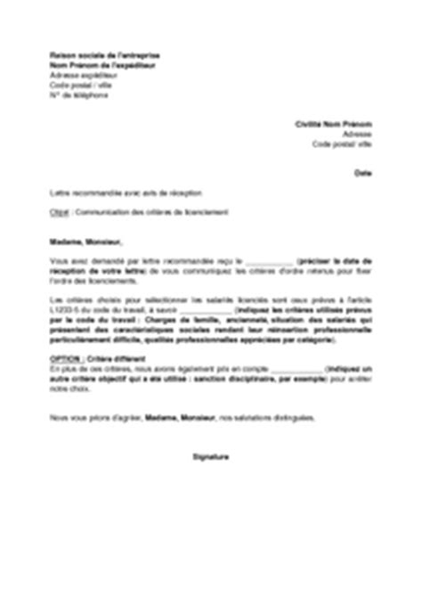 Modèles Lettre De Licenciement exemple gratuit de lettre communication crit 232 res ordre un licenciement 233 conomique