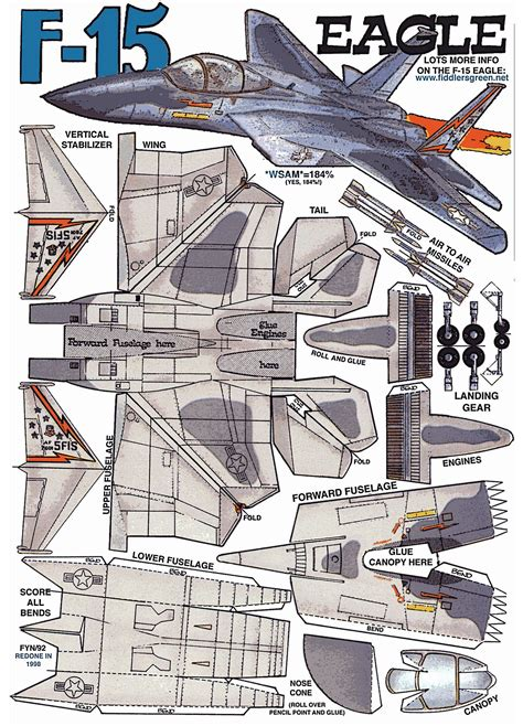 Model Papercraft - f 16 paper airplane templates crafts