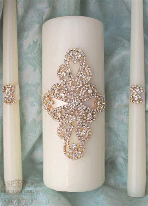 Wedding Unity Candle Set by Unity Candle Set Gold Wedding Candle Unity Rhinestone