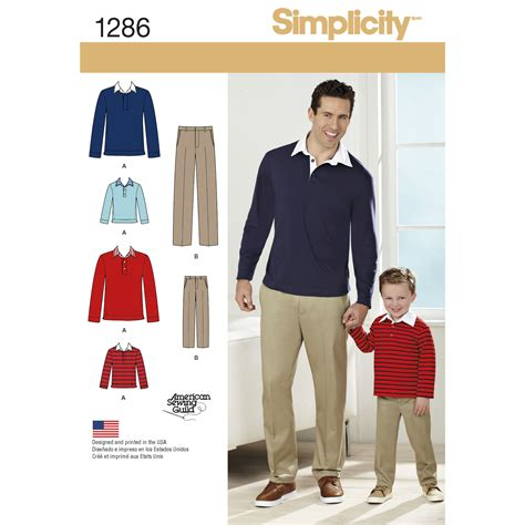 pattern review com login simplicity boys and men s classic pants 1286 pattern