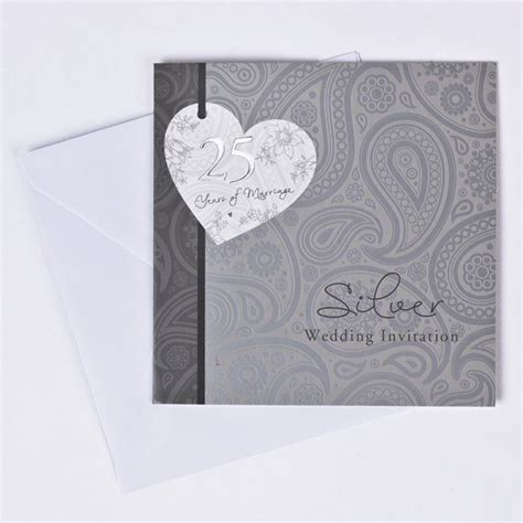 card factory golden wedding invitations 25th silver anniversary invitation cards pack of 10