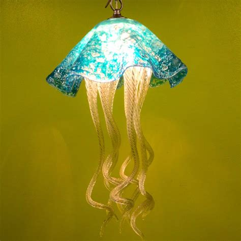 Jellyfish Chandelier Buy A Made Jellyfish Pendant Light Turquoise Jellyfish Blown Glass Lighting Glass
