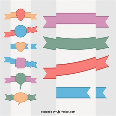Ribbon Flat by Flat Ribbons Set Vector Free