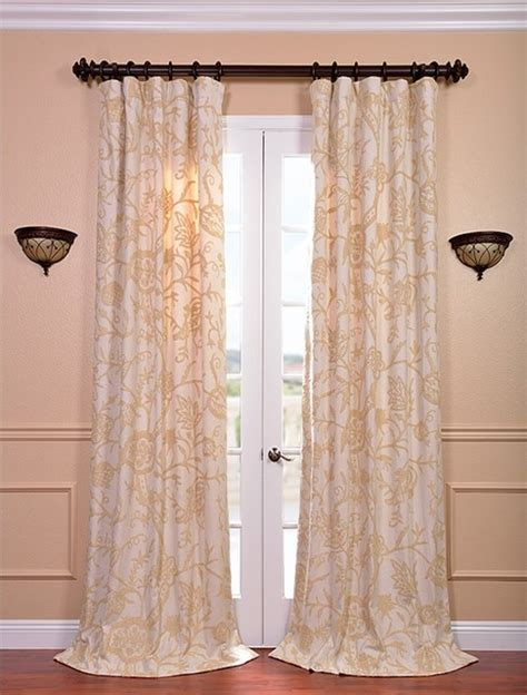crewel curtains lorraine embroidered cotton crewel curtain traditional
