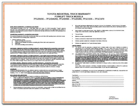 warranty statement template warranty the the bad and the toyota lift