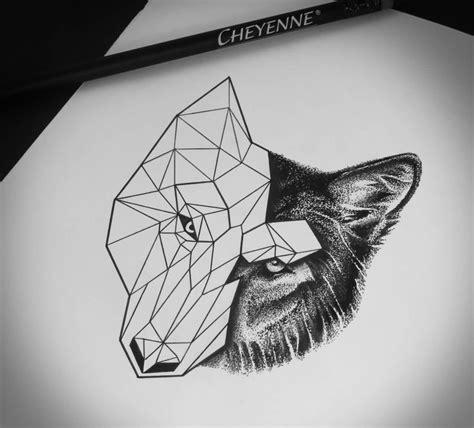 wolf tattoo half geometric half geometric half realistic wolf tattoo bohemian