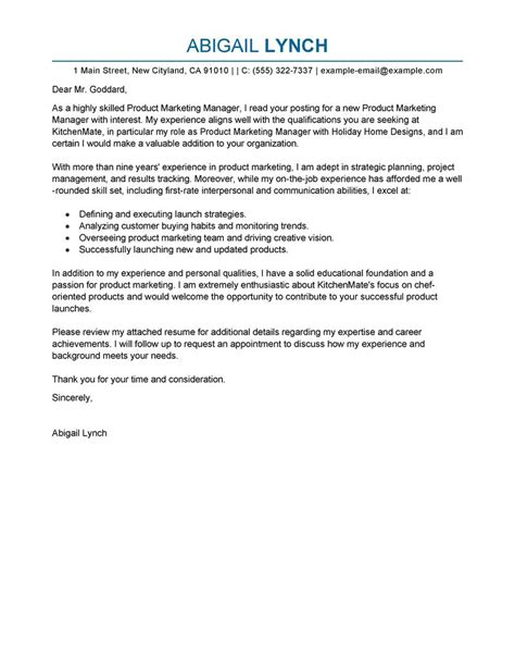 Sle Letter For Product Launch Product Marketer Cover Letter Exles Marketing Cover