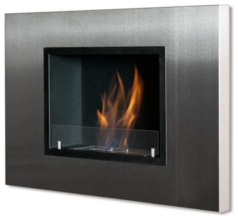 Indoor Glass Fireplace by Quadra Recessed Wall Mounted Ventless Ethanol Fireplace