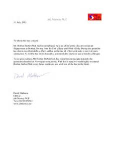 Chef Reference Letter by Nuf Recommendation Letter