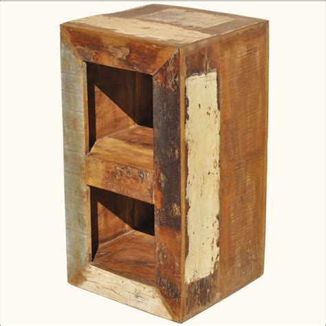 appalachian rustic reclaimed wood bedside bookshelf
