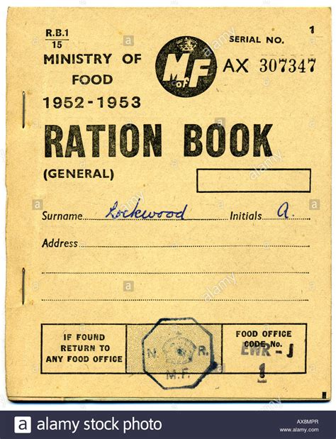 pictures of ration books 1950s ministry of food ration book 1952 1953 for editorial