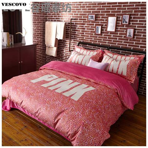 vs pink 4pcs bedding sets for girls duvet cover set