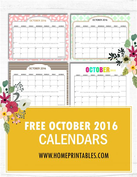 Calendar Covers 2016 free printable october 2016 calendar designs home