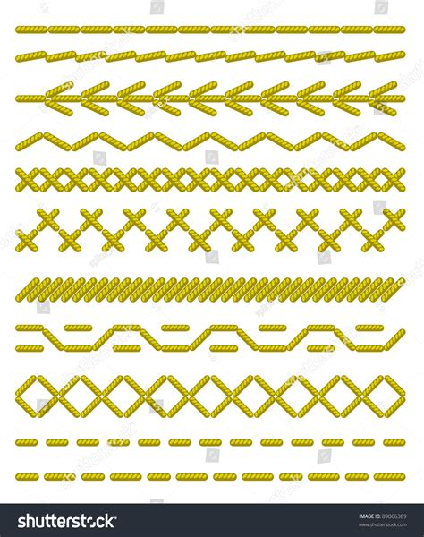 sewing borders design elements vector sewing stitches seamless borders vector illustration stock