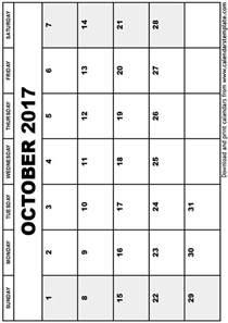Calendar Template October 2017 Printable October 2017 Calendar Template