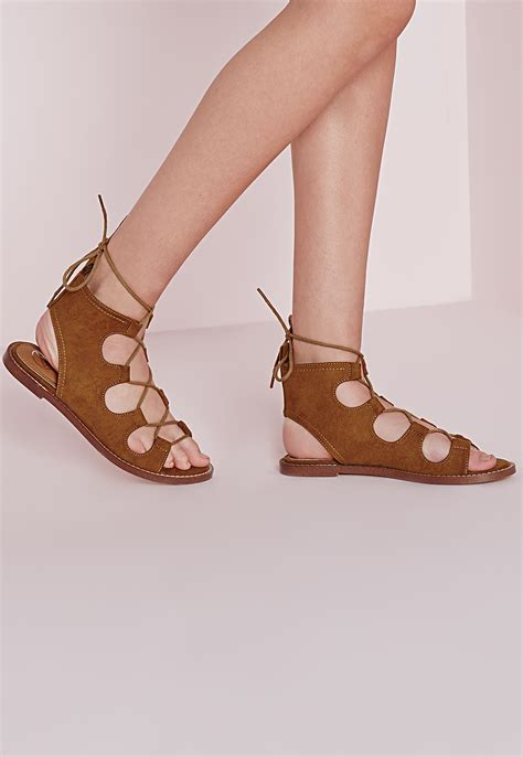 gladiator sandals lace up missguided lace up flat gladiator sandals in brown lyst