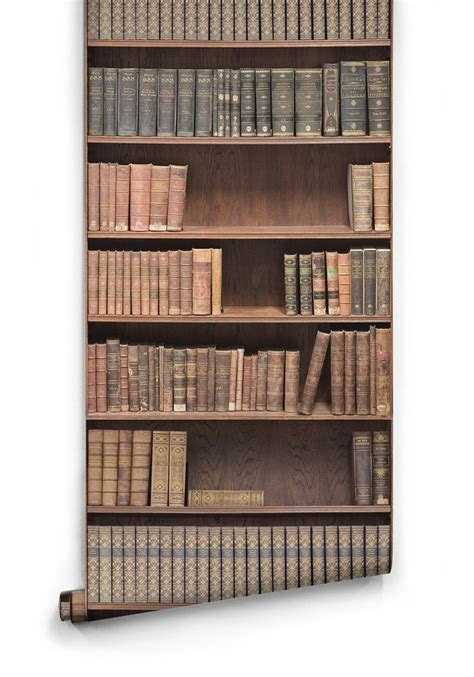 bookshelf boutique faux wallpaper design by milton king