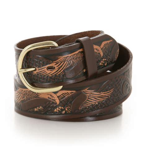 wrangler mens hand painted belt  eagle emboss