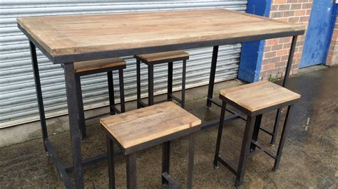 Vintage Bar Table New Industrial Rustic Vintage Bar Table Dining Set Stools Trend Living Comfort